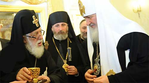 HH Patriarch Kirill of Moscow and All Russia with HH Patriarch Iliya II of All Georgia
