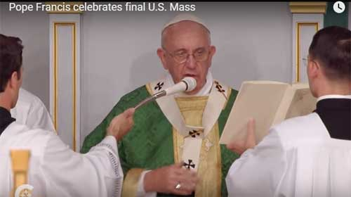 Pope Francis in Philadelphia celebrating Mass on Sept. 27,2015