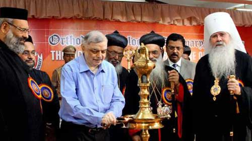 Governor P. Sathasivam inaugurating the valedictory session of the bicentenary celebrations of the Orthodox Theological Seminary in Kottayam on Thursday.: Photo-The Hindu